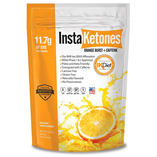 Julian Bakery's InstaKetones® 11.7g GoBHB® Per Scoop +Organic Caffeine (Orange Burst) (1 Pack) (+Caffeine) (30 Servings) Exogenous Ketones