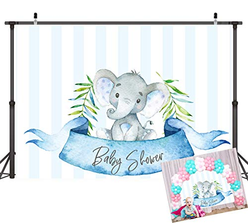 Art Studio 7x5ft Little Elephant Photography Backdrops Boy Baby Shower Blue and White Stripe Photo Background Prince Party Decor Studio Props Booth Vinyl ()