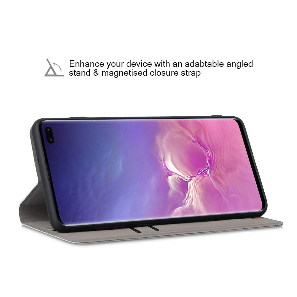 Carcasa Samsung Galaxy S10 Plus Fundas TPU Samsung Galaxy S10 Plus Gris Soporte Plegable Funda Samsung Galaxy S10 Plus Flip Cover Ranuras de Tarjeta JiatuA Funda Samsung Galaxy S10 Plus