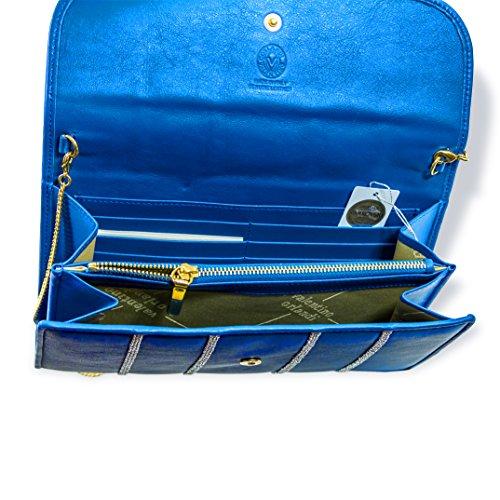 Italian Orlandi Maldives Wallet Big Designer Valentino Clutch Blue Leather qfExwZqUO