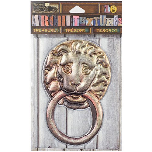 7 Gypsies Architextures Treasures Adhesive Embellishments - Lion Door Knocker -