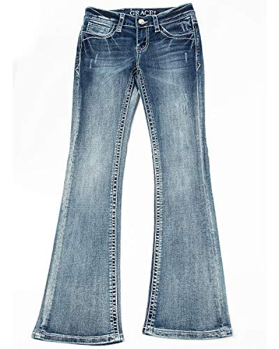 Grace in LA Girls' Arrow Pocket Bootcut Jeans Blue 16