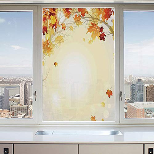 3D Decorative Privacy Window Films,Soft Image of Faded Shedding Fall Leaves from Tree Motion in Nature Concept,No-Glue Self Static Cling Glass Film for Home Bedroom Bathroom Kitchen Office 24x36 Inch