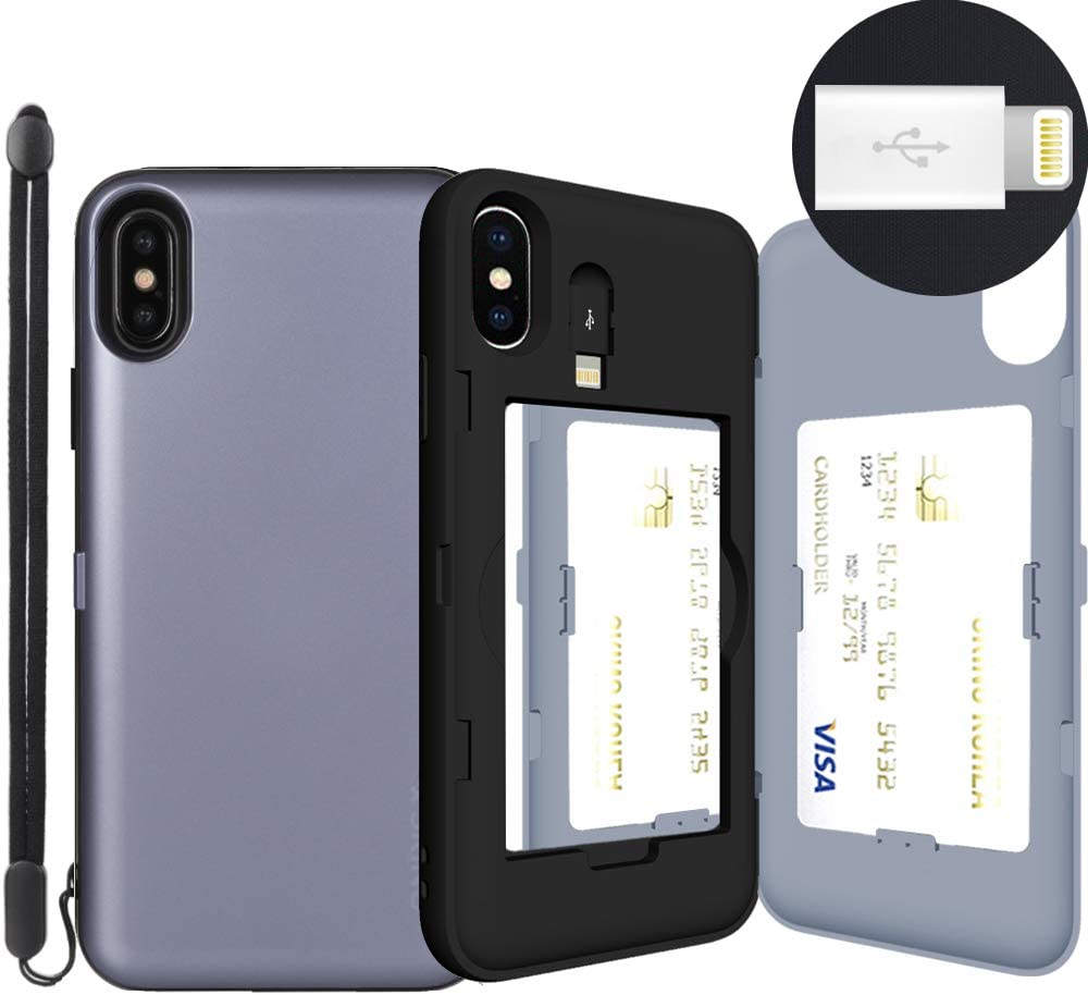 iPhone Xs Case, SKINU [XS Wallet Strap] Xs Charger Dual Layer Hidden Credit Holder Card Case with Wrist Strap Inner USB to 8 Pin Adapter and Mirror for iPhone Xs (2018) - Orchid Gray