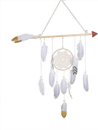 Lembeauty Faite /à la Main en Forme de fl/èche de Cupidon Dream Catcher Circulaire Net Plumes Perles Murale de Voiture D/écoration /à Suspendre Ornement Craft Cadeau