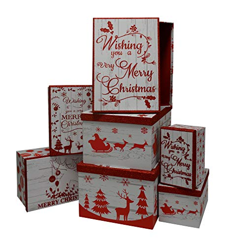 Christmas Boxes Nested with lids, Holiday Prints in Assorted Small Medium and Sizes and Colors, (Red and White Cheer, 7-Count)