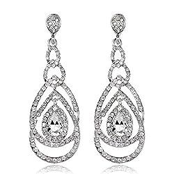 Crystal Rhinestone Teardrop Long Dangle Earrings