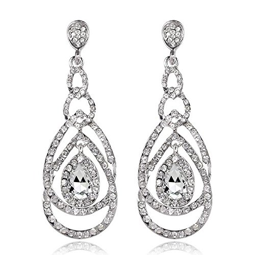 Cute Hollow Crystal Rhinestone Teardrop Connection Long Dangle Earrings for Women Fashion Strand Jewelry (Style04) (Bridal Earring Rhinestone)