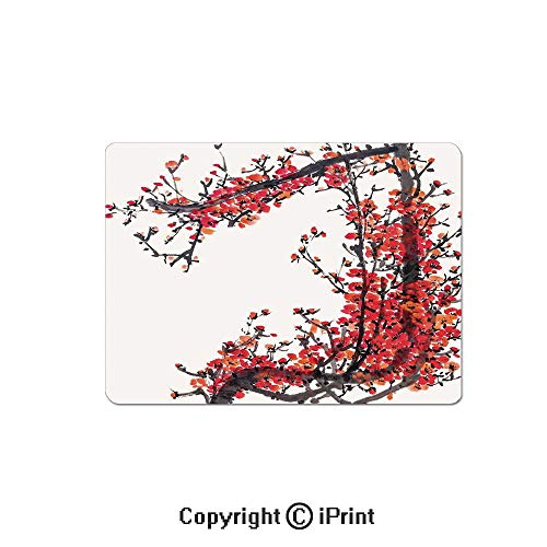 Large Gaming Mouse Pad Japanese Cherry Blossom Sakura Branch Made with Brush Artsy Image Extended Mat Desk Pad Mousepad Non-Slip Rubber Mice Pads 9.8