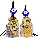 Heart Key Lock Halfs Love Couples Small Car Charms or Home Decor Gem Bottles Amethyst and Citrine Amulets