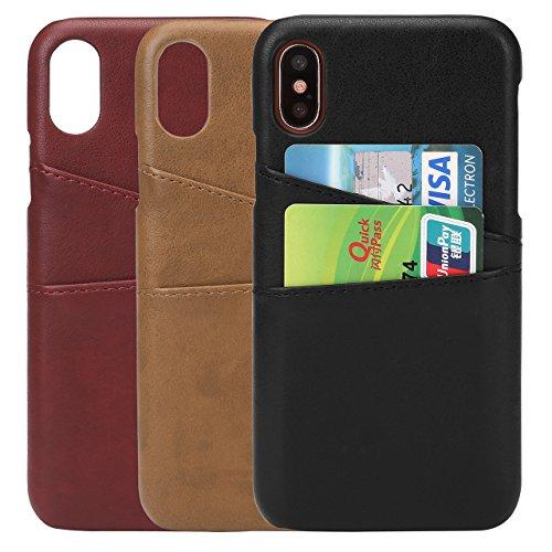 iPhone X Leather Card Case, Yerwal iPhone X Card Case iPhone X PU Leather Wallet Case with ID Credit Card Slot Holder (Black #1)
