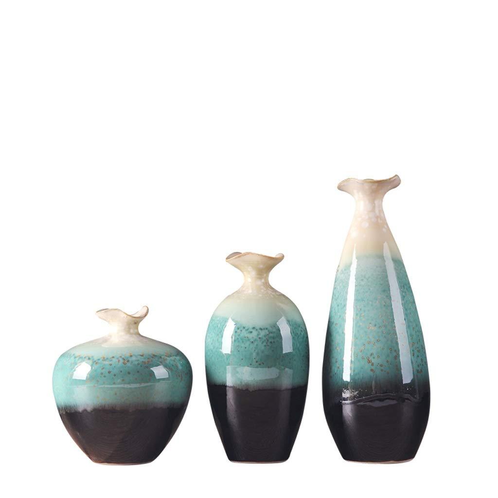 MAHONGQING 花瓶クリエイティブセラミック花瓶現代のミニマリストのリビングルームのテーブルホームテレビワインキャビネットの装飾飾り(3セット) (Edition : A) B07RV9TVFR  A