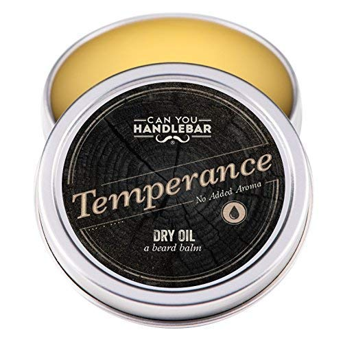 Temperance – Fragrance Free Unscented – Premium Beard Balm For Men | Dry Oil Beard Conditioner | 2 Oz Stainless Steel Tin