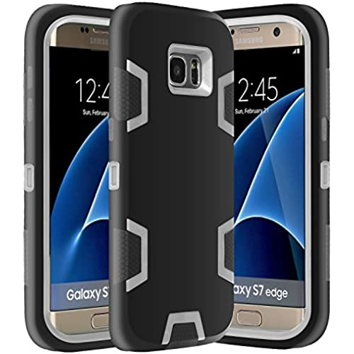 Galaxy S7 Edge Case, E LV Samsung Galaxy S7 Edge - Hybrid Defender Rugged Shockproof Dirtproof Case Cover for Samsung Galaxy S7 Edge - [BLACK / GREY] Sales