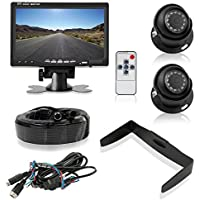 Pyle Upgraded LCD Backup Camera Vehicle Mount With Weatherproof, (2) 170 Degree Adjustable Angle, Night Vision Cams, Color Video Security System for Truck, Vans, Cars