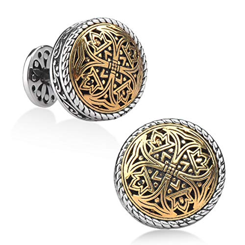 Silver Clover Gold Plated Cufflinks - Best Gifts for Men, Wedding, Business, with Luxury Gift Box