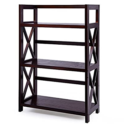 SONGMICS Wood Bookcase 3-shelf Wide Storage Rack Shelving Unit Multipurpose Shelf, Brown ULBR89Z