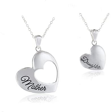 Amazon 18k white gold plated mother daughter two piece silver 18k white gold plated mother daughter two piece silver heart necklace pendant for women and teen aloadofball Choice Image