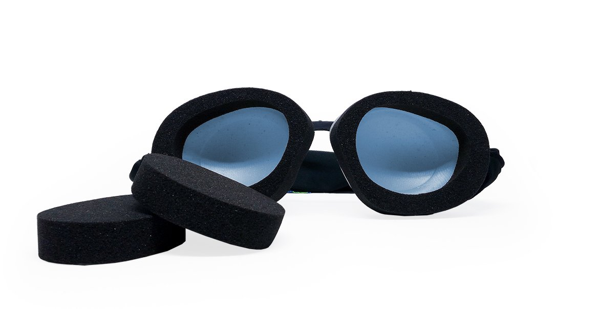Tranquileyes Travel and Sleep Kit Sleep Mask for Nighttime Dry Eye Relief (Blue)