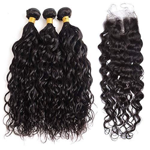 Brazilian Water Wave Hair Bundles With Closure 3 Bundles Wet and Wavy Human Hair Bundle with Lace closure Ocean Wave Human Hair Weave Extensions Remy Hair Bundles (12 14 16+10 Middle part)