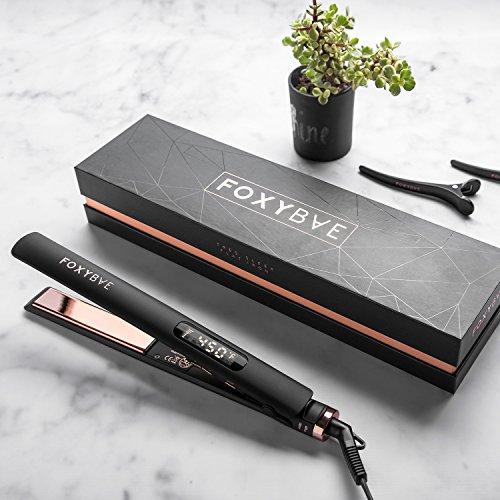 FoxyBae Hair Straightening Trés Sleek Flat Iron (Rose Gold Titanium) - Digital Temp control + Ionic - Salon Grade