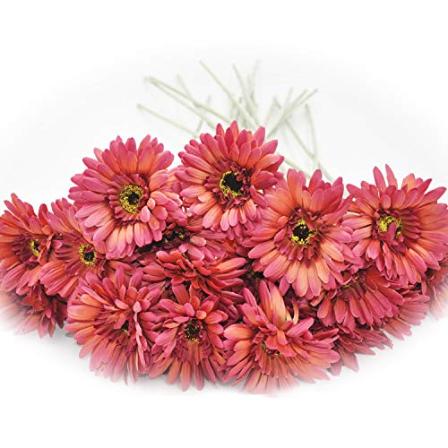 cn-Knight Artificial Flower 12pcs 22'' Long Stem Silk Daisy Faux Mums Flower Chrysanth Gerbera for Wedding Bridal Bouquet Bridesmaid Home Decor Office Baby Shower Prom Centerpiece(Wine)
