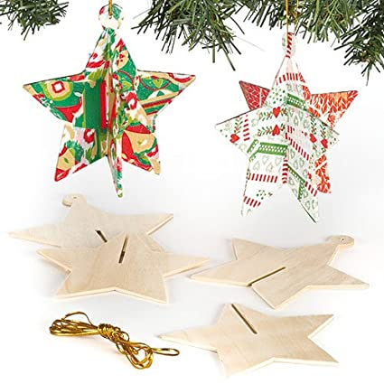 3d wooden star christmas tree decorations for children to personalise and hang pack of 6 - Wooden Christmas Tree Decorations