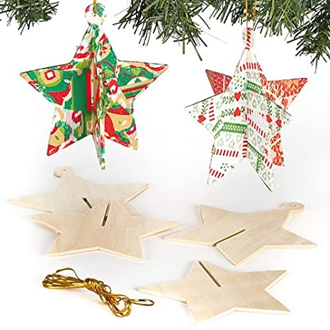 baker ross 3d wooden star christmas tree decorations for children to personalise and hang pack