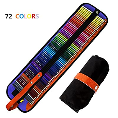 BicycleStore 72 Colored Pencils Set With Nylon Case Sharpener Aritist Grade 3.5mm Soft Core With Names of Colors for Sketching, Painting or Coloring Book