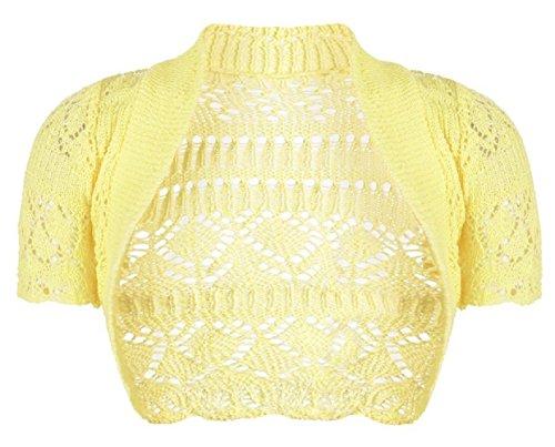 Mädchen-Kind- Häkelarbeit- Short Sleeve Strick Boleroshrug Alter 2-14 Jahre Gelb