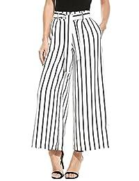 SE MIU Women's Stripe Flowy Wide Leg High Waist Belted Palazzo Pants Capris