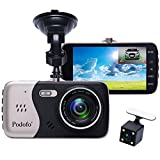 In-Car Dash Cam, Podofo Dual Lens Full HD 1080P Car Camera Front and Rear DVR Driving Recorder 170° Wide Angle 4.0″ IPS Screen Night Vision/ WDR /G-Sensor/Parking Mode/Motion Detection/Loop Recording