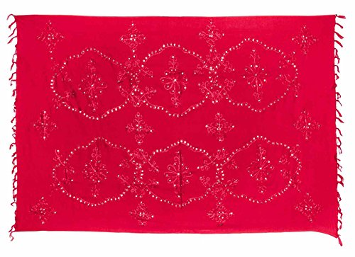Sarong Pareo Wickelrock Lunghi Dhoti Tuch Strandtuch Pailletten Rot Blickdicht