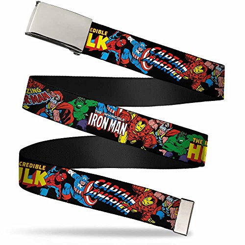 Buckle-Down Big Web Belt Avengers, Marvel Characters Stacked w/Character Text Logos, 1.0