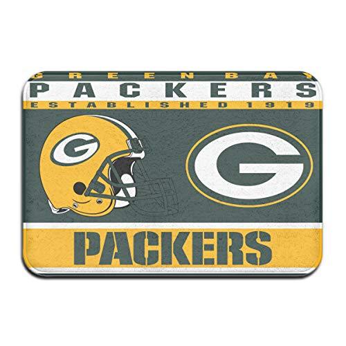Dalean Green Bay Packers Anti-Sliding Door Mat Floor Mat,Do Not Fade,15.75inx23.62in,Suitable Indoor Floor MATS Such As Entrance, Bathroom,Bedroom,Toilet,Etc ()