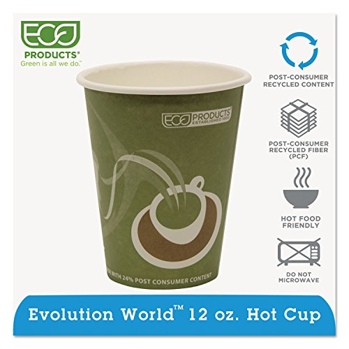 Eco-Products Evolution World 24% PCF Hot Drink Cups, Sea Green, 12 oz., 1000/Carton