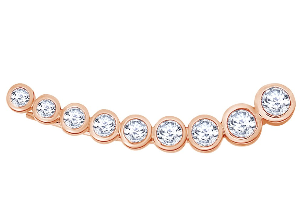 White Natural Diamond Cinderella Ear Cuff Single Earring in 14K Solid Rose Gold