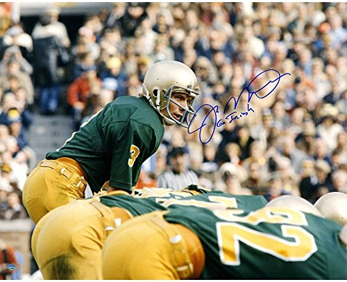 (Joe Montana Autographed Signed Notre Dame At Line Of Scrimmage Autographed Signed 16x20 Photo with Go Irish Insc - Authentic Signature)