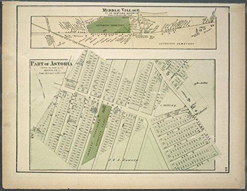 Historic 1873 Map | Middle Village. Tn. of Newtown, Queens Co. - Part of Astoria. L | Antique Vintage Map Reproduction