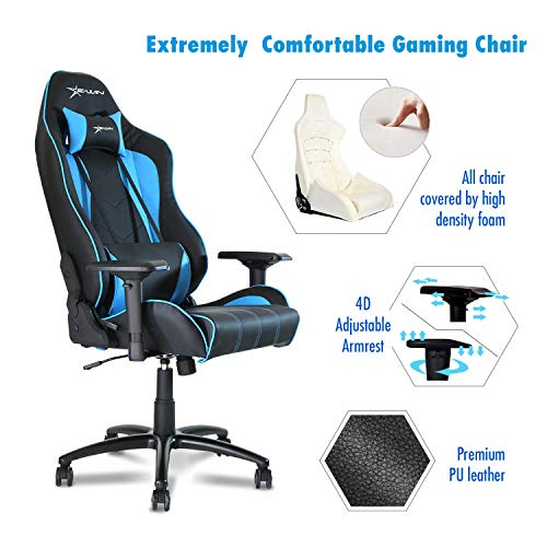Ewin Gaming Chair Champion Series 4D Armrests Memory Foam 85°-155° Tiltable Ergonomic High-Back PU Leather Racing Executive Computer Office Chair CPB-Blue Ewin Chair