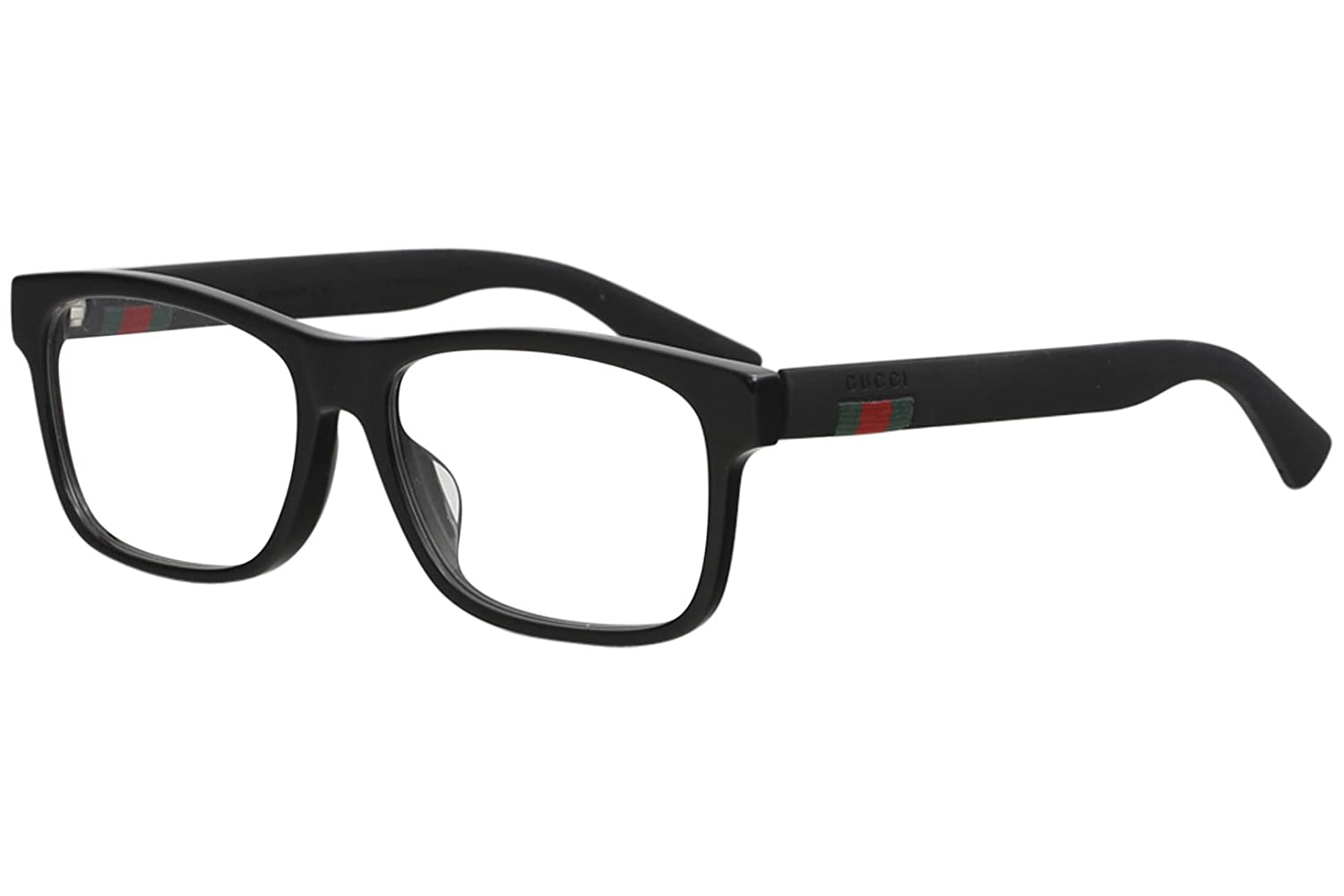 254635c36f20 Amazon.com: Gucci GG 0176O 001 Black Plastic Rectangle Eyeglasses 56mm:  Clothing