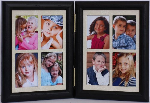PersonalizedbyJoyceBoyce.com 5x7 Hinged Portrait BLACK Frame with Cream Mats - Frame Holds 8 Wallet Pictures