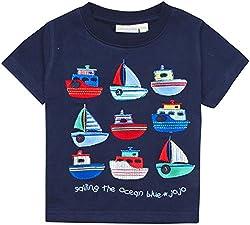 JoJo Maman Bebe Boat T-Shirt (Baby) - Navy-6-12 Months