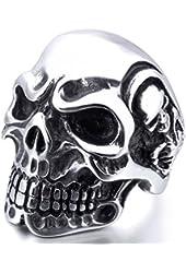 Men's Stainless Steel Ring Silver Tone Black Skull Bone