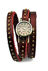 Sinceda Retro Watch Women's Punk Wrap Genuine Leather Fashion Watch Rivet Strap