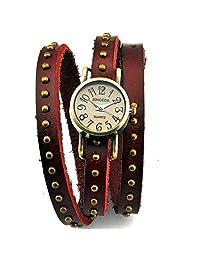 Retro Watch Women's Punk Wrap Genuine Leather Fashion Watch Rivet Strap