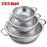 Colander Set of 3, P&P Chef Stainless Steel Micro-Perforated Colanders Strainers for Draining, Rinsing, Washing, Ideal for Pasta, Vegetables, Fruits, Heavy Duty & Dishwasher Safe - 1/3/5 Quart