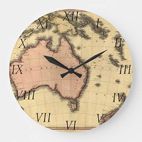 TattyaKoushi 15 by 15-inch Wooden Wall Clock, 1818 Australasia Map - Australia, New Zealand Large Clock for Kitchen Bedroom Living Room Home Office Decor (Map Of Australia And New Zealand Image)