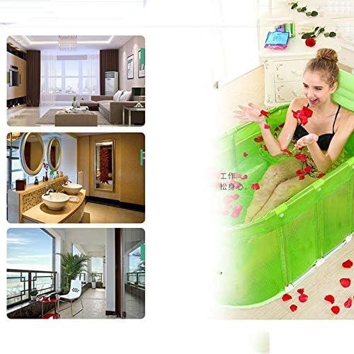 HUOQILIN エクストラ折りたたまれたスチールバスタブの泡風呂浴槽入浴浴槽大人浴槽ステンレス製のステント (Color : Pink)