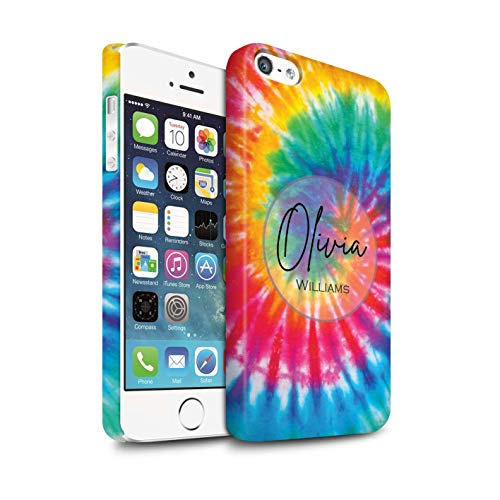 Personalized Custom Fabric Tie-Dye Patterns Matte Case for Apple iPhone 5/5S / Rainbow Eclipse Swirl Design/Initial/Name/Text DIY Snap-On Cover (Eclipse Bumper Case For Apple Iphone 5 5s)